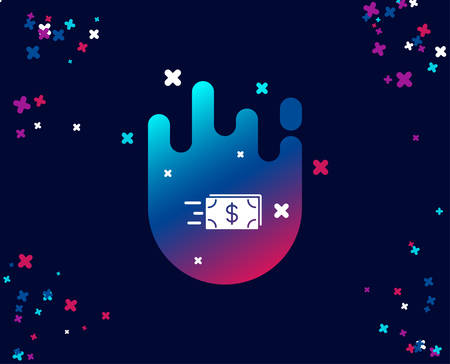 Transfer Cash money simple icon. Banking currency sign. Dollar or USD symbol. Cool banner with icon. Abstract shape with gradient. Vector  イラスト・ベクター素材