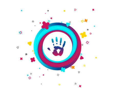 Hand print sign icon. Stop symbol. Colorful button with icon. Geometric elements. Vector Stock Illustratie