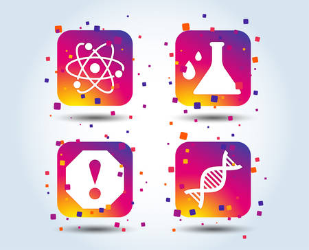 Attention and DNA icons. Chemistry flask sign. Atom symbol. Colour gradient square buttons. Flat design concept. Vector