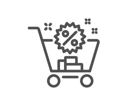 Shopping cart line icon. Sale discounts sign. Clearance symbol. Quality design element. Classic style shopping cart. Editable stroke. Vector