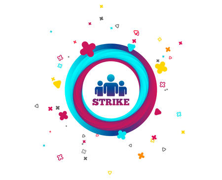 Strike sign icon. Group of people symbol. Industrial action. People protest. Colorful button with icon. Geometric elements. Vector