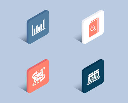 Set of E-mail, Search files and Column chart icons. Web analytics sign. Communication by letters, Magnifying glass, Financial graph. Statistics.  3d isometric buttons. Flat design concept. Vector Illustration