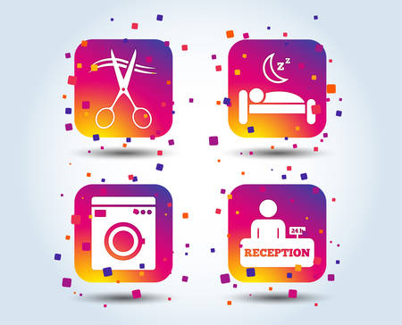 Hotel services icons. Washing machine or laundry sign. Hairdresser or barbershop symbol. Reception registration table. Quiet sleep. Colour gradient square buttons. Flat design concept. Vector