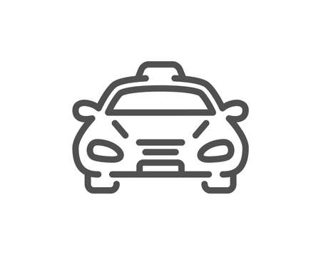 Taxi cab transport line icon. Car vehicle sign. Taxicab driving symbol. Quality design element. Classic style taxi. Editable stroke. Vector