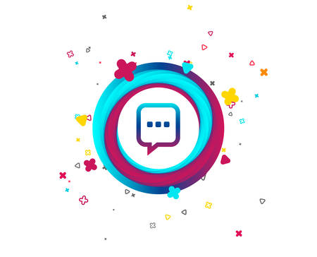 Chat sign icon. Speech bubble with three dots symbol. Communication chat bubble. Colorful button with icon. Geometric elements. Vector