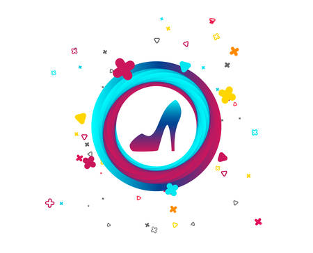 Women sign. Women's shoe icon. High heels shoe symbol. Colorful button with icon. Geometric elements. Vector Stockfoto - 108289574