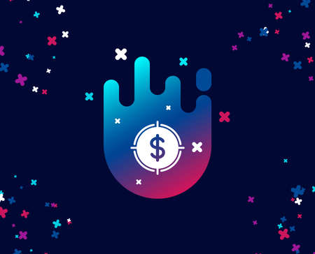 Target with Dollar simple icon. Aim symbol. Cash or Money sign. Cool banner with icon. Abstract shape with gradient. Vector