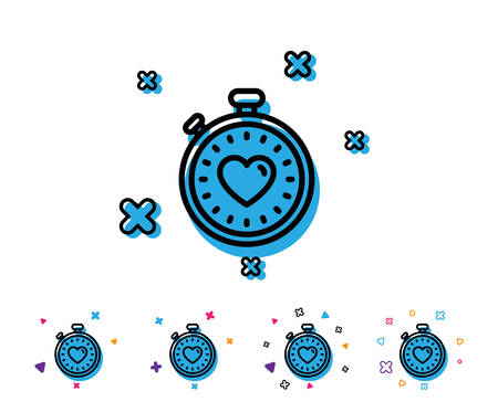 Heart in Timer line icon. Love symbol. Valentines day stopwatch sign. Line icon with geometric elements. Bright colourful design. Vector Illustration