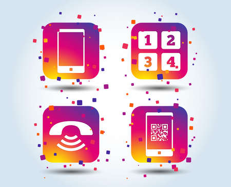 Phone icons. Smartphone with Qr code sign. Call center support symbol. Cellphone keyboard symbol. Colour gradient square buttons. Flat design concept. Vector