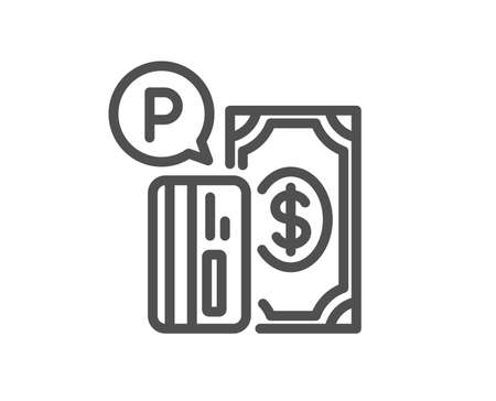 Parking payment line icon. Paid car park sign. Transport place symbol. Quality design element. Classic style paid parking. Editable stroke. Vector