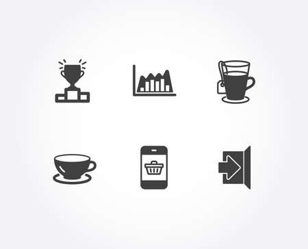 Set of Tea, Infographic graph and Winner podium icons. Espresso, Smartphone buying and Exit signs. Glass mug, Line diagram, Competition results. Coffee cup, Website shopping, Escape. Vector
