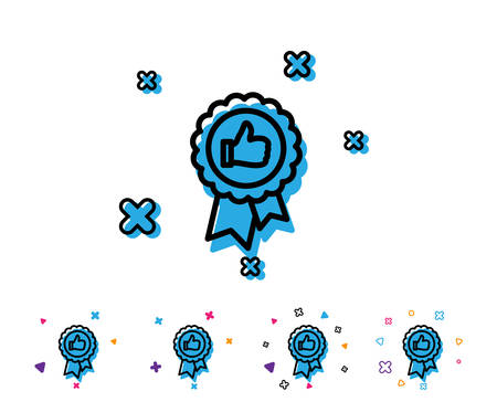 Positive feedback line icon. Award medal symbol. Reward sign. Line icon with geometric elements. Bright colourful feedback design. Vector Banque d'images - 108289581