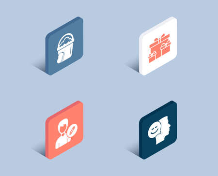 Set of Sponge, Edit person and Surprise boxes icons. Good mood sign. Cleaner bucket, Change user info, Holiday gifts. Positive thinking.  3d isometric buttons. Flat design concept. Vector Ilustração