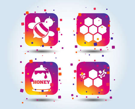 Honey icon. Honeycomb cells with bees symbol. Sweet natural food signs. Colour gradient square buttons. Flat design concept. Vector Illustration