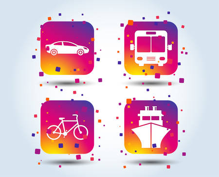 Transport icons. Car, Bicycle, Public bus and Ship signs. Shipping delivery symbol. Family vehicle sign. Colour gradient square buttons. Flat design concept. Vector Illustration