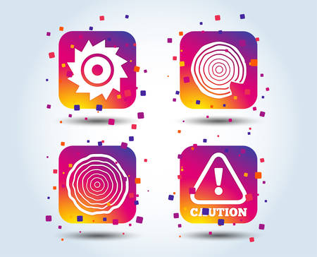 Wood and saw circular wheel icons. Attention caution symbol. Sawmill or woodworking factory signs. Colour gradient square buttons. Flat design concept. Vector Ilustração