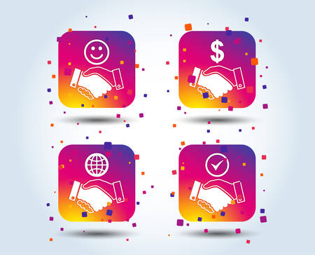 Handshake icons. World, Smile happy face and house building symbol. Dollar cash money. Amicable agreement. Colour gradient square buttons. Flat design concept. Vector