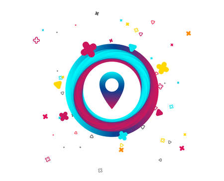 Map pointer icon. GPS location symbol. Colorful button with icon. Geometric elements. Vector Vecteurs