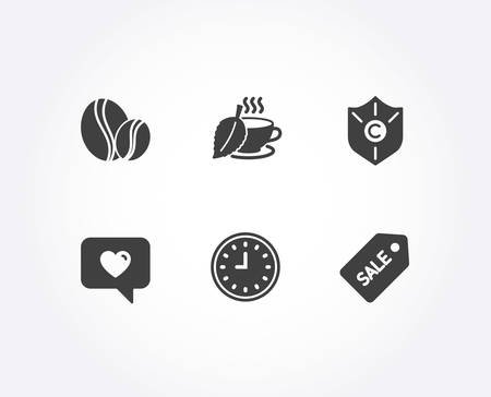 Set of Copyright protection, Love message and Mint tea icons. Clock, Coffee beans and Sale ticket signs. Shield, Dating service, Mentha beverage. Time, Whole coffee bean, Discount coupon. Vector