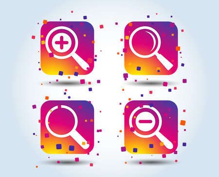 Magnifier glass icons. Plus and minus zoom tool symbols. Search information signs. Colour gradient square buttons. Flat design concept. Vector 向量圖像