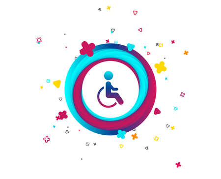 Disabled sign icon. Human on wheelchair symbol. Handicapped invalid sign. Colorful button with icon. Geometric elements. Vector
