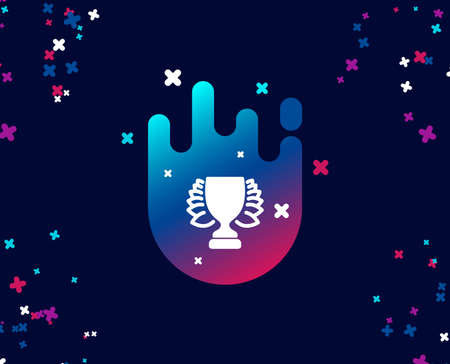 Award cup simple icon. Winner Trophy with Laurel wreath symbol. Sports achievement sign. Cool banner with icon. Abstract shape with gradient. Vector
