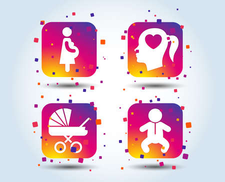 Maternity icons. Baby infant, pregnancy and buggy signs. Baby carriage pram stroller symbols. Head with heart. Colour gradient square buttons. Flat design concept. Vector
