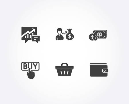 Set of Shopping basket, Dollar money and Accounting icons. Sallary, Buying and Money wallet signs. Sale offer, Cash with coins, Supply and demand. Person earnings, E-commerce shopping, Payment method Illustration