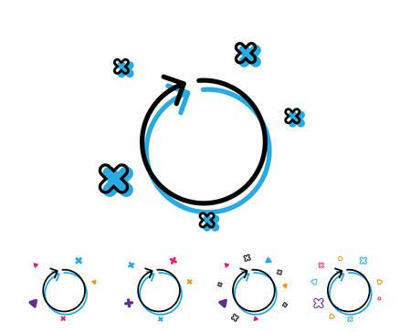 Icône de ligne de flèche de boucle. Actualiser le symbole de pointe de flèche. Signe de pointeur de navigation. Icône de ligne avec des éléments géométriques. Conception colorée lumineuse. Vecteur Vecteurs