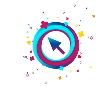 Icono de signo de cursor del mouse. Símbolo de puntero. Botón colorido con icono. Elementos geométricos. Vector