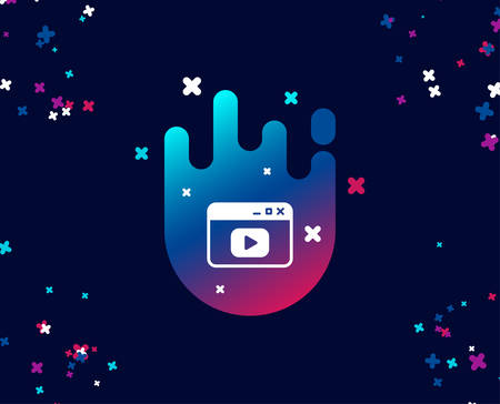 Browser Window simple icon. Video content sign. Internet page symbol. Cool banner with icon. Abstract shape with gradient. Vector Vettoriali