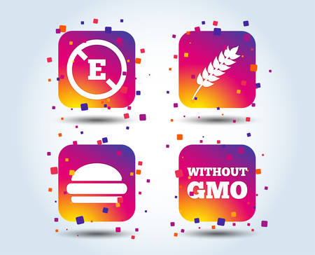 Food additive icon. Hamburger fast food sign. Gluten free and No GMO symbols. Without E acid stabilizers. Colour gradient square buttons. Flat design concept. Vector