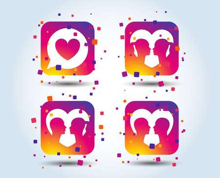 Icône d'amour de couple. Signes d'amants lesbiennes et gays. Relations amoureuses. Bulle de dialogue avec le symbole du coeur. Boutons carrés dégradés de couleur. Concept de design plat. Vecteur