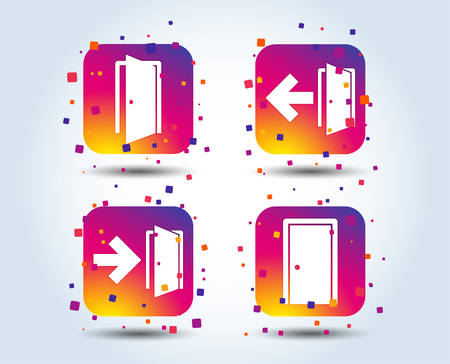 Doors icons. Emergency exit with arrow symbols. Fire exit signs. Colour gradient square buttons. Flat design concept. Vector Illustration