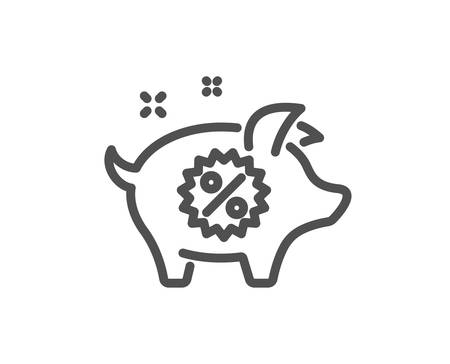 Piggy sale line icon. Shopping discount sign. Clearance symbol. Quality design element. Classic style. Editable stroke. Vector