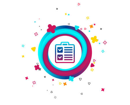 Checklist sign icon. Control list symbol. Survey poll or questionnaire form. Colorful button with icon. Geometric elements. Vector