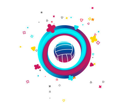 Volleyball sign icon. Beach sport symbol. Colorful button with icon. Geometric elements. Volleyball ball vector.