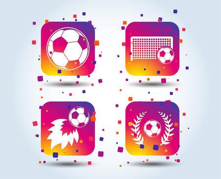 Football icons. Soccer ball sport sign. Goalkeeper gate symbol. Winner award laurel wreath. Goalscorer fireball. Colour gradient square buttons. Flat design concept. Vector Stock Illustratie