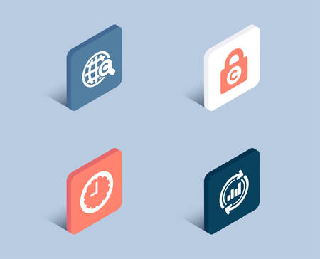 Set of Time, International Ð¡opyright and Ð¡opyright locker icons. Update data sign. Office clock, World copywriting, Private information. Sales chart.  3d isometric buttons. Flat design concept