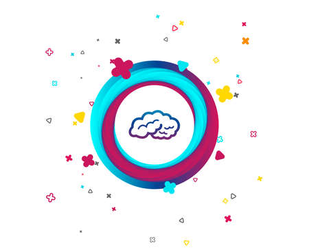 Brain sign icon. Human intelligent smart mind. Colorful button with icon. Geometric elements. Vector Illustration