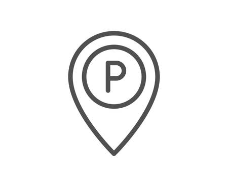 Parking line icon. Location map pointer sign. Car park symbol. Quality design element. Classic style parking. Editable stroke. Vector Çizim