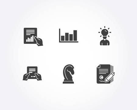 Set of Marketing strategy, Receive file and Report diagram icons. Education, Document and Copywriting signs. Chess knight, Hold document, Financial market. Marketing vector Stockfoto - 110005710