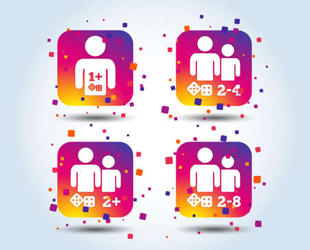 Gamer icons. Board games players sign symbols. Colour gradient square buttons. Flat design concept. Vector