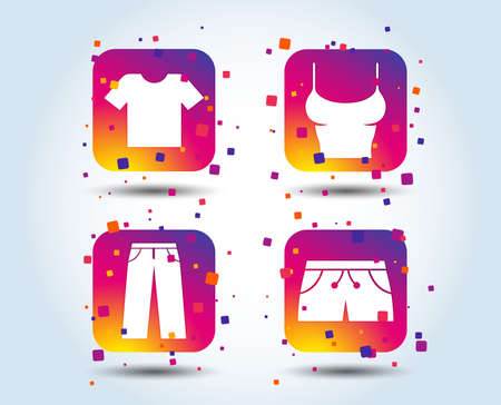 Clothes icons. T-shirt and pants with shorts signs. Swimming trunks symbol. Colour gradient square buttons. Flat design clothes concept. Vector Stock Illustratie