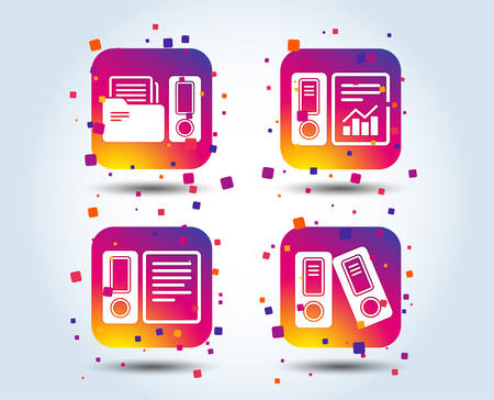 Accounting report icons. Document storage in folders sign symbols. Colour gradient square buttons. Flat design concept. Vector