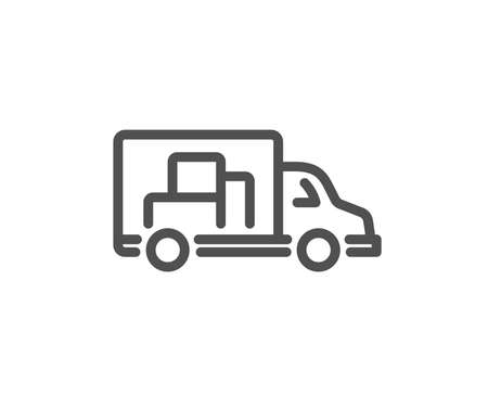 Truck transport line icon. Transportation vehicle sign. Delivery symbol. Quality design element. Classic style truck. Editable stroke. Vector Illustration