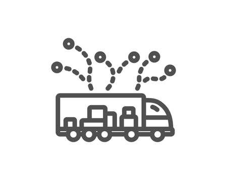 Truck transport line icon. Transportation vehicle sign. Delivery logistics symbol. Quality design element. Classic style truck delivery. Editable stroke. Vector