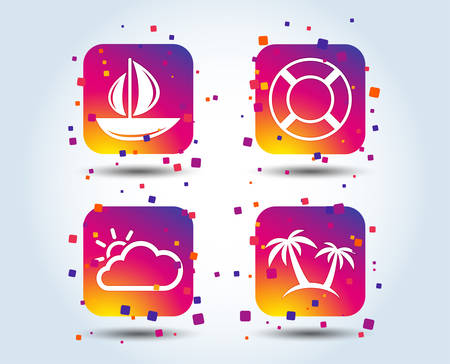 Travel icons. Sail boat with lifebuoy symbols. Cloud with sun weather sign. Palm tree. Colour gradient square buttons. Flat design concept. Vector 向量圖像
