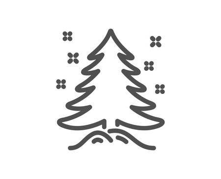Christmas tree present line icon. New year spruce sign. Fir-tree symbol. Quality design element. Classic style tree. Editable stroke. Vector