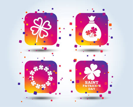 Saint Patrick day icons. Money bag with clover sign. Wreath of quatrefoil clovers. Symbol of good luck. Colour gradient square buttons. Flat design concept. Vector